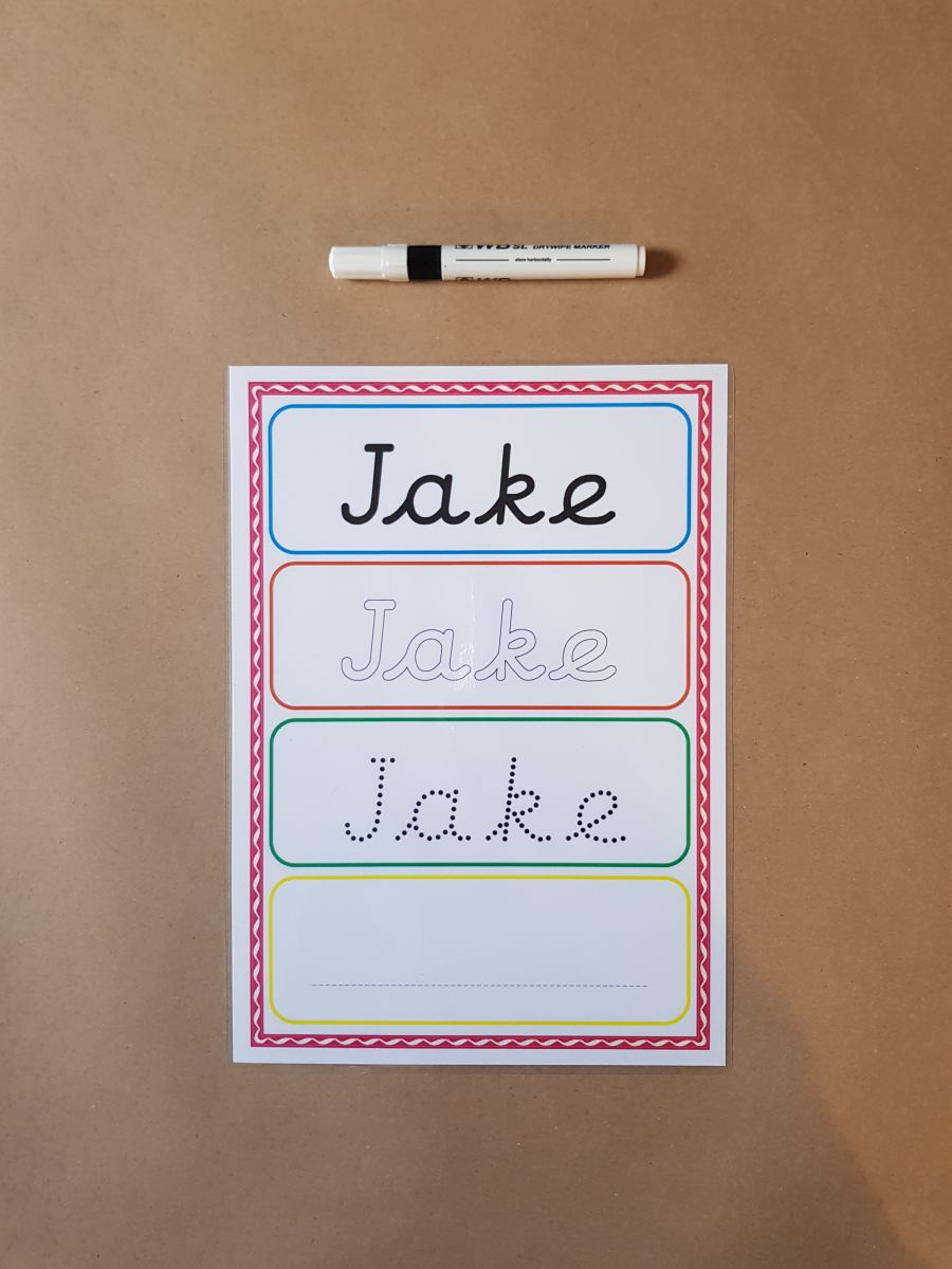 Pre Cursive Name Tracing Card