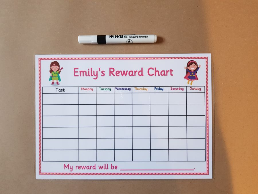 Pink Superhero Reward Chart
