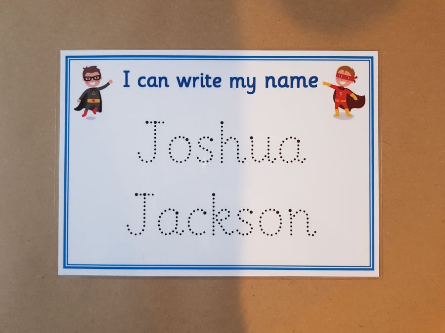 Blue Superhero Name Tracing Card