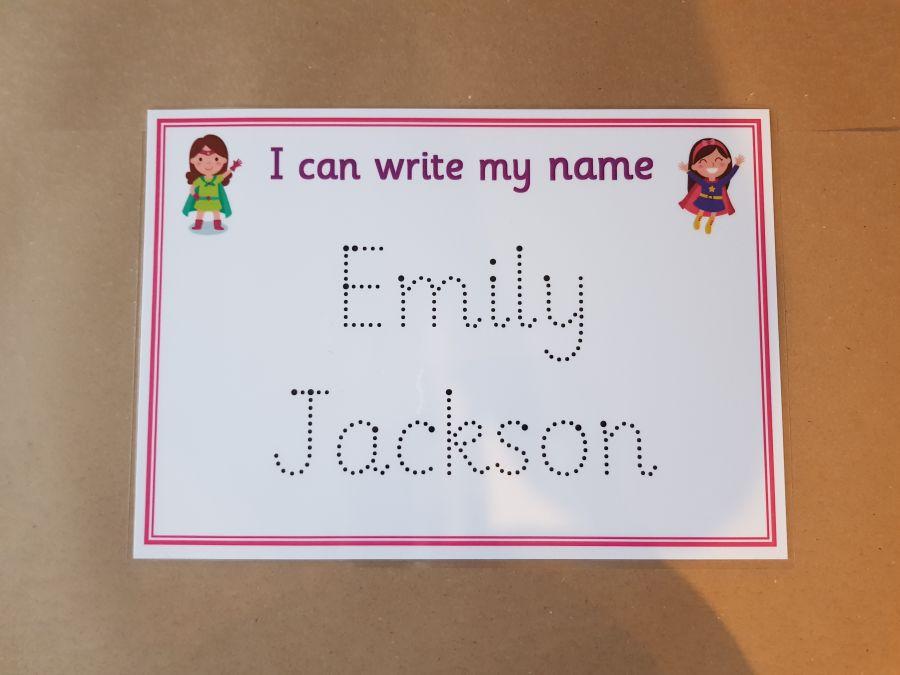 Pink Superhero Name Tracing Card