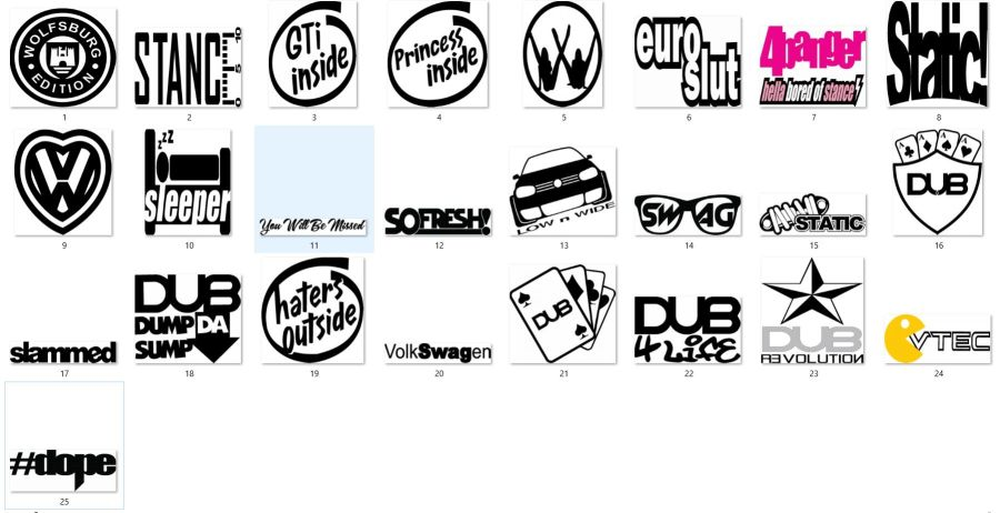 Volkswagen Stickers 1 - 25