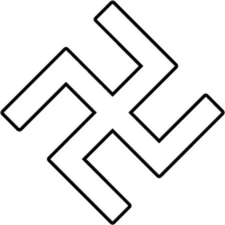 German Luftwaffe type Swastika - White Fill Black border