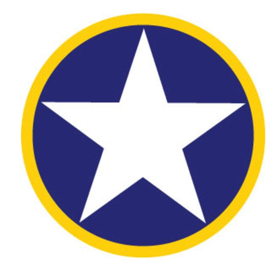 USAF Roundel Blue Circle White Star Yellow Ring