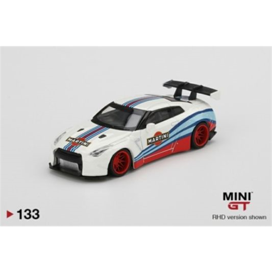 LB Works Nissan GT-R R35 Type 1 Rear Wing V1 Martini Racing (LHD) 1/64 scale model car