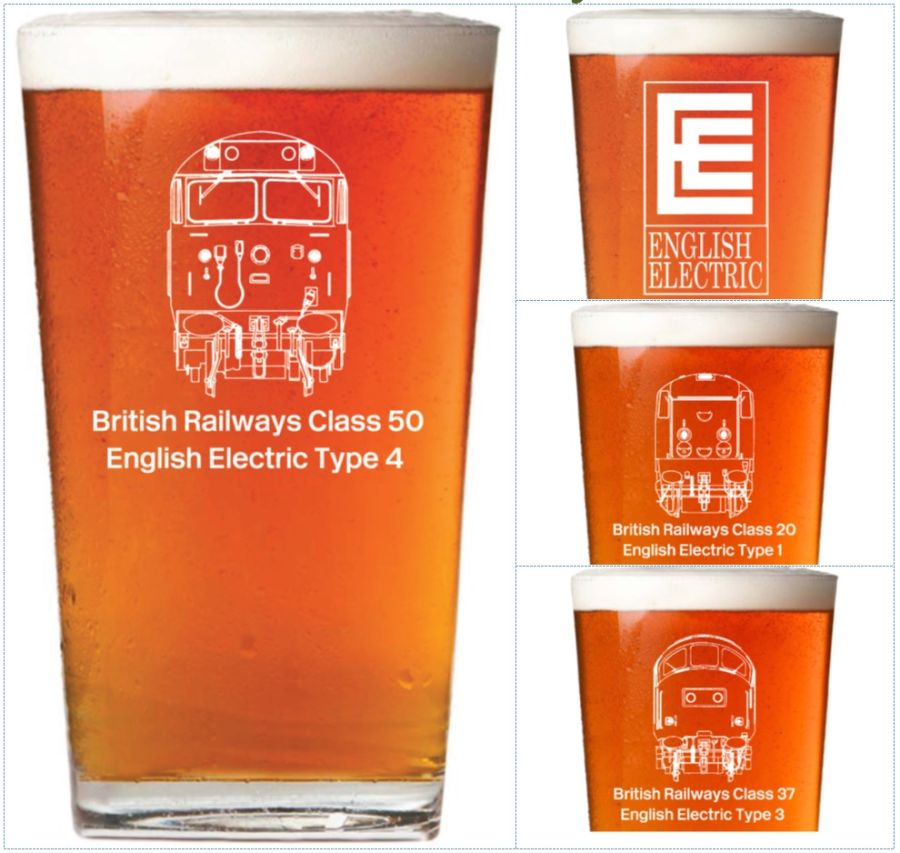 Pint Glasses - Classes 20, 37, 50 and EE logo