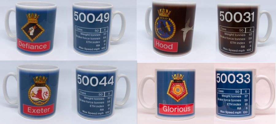 Class 50 Data Panel and Crest Mugs (Various Locos)