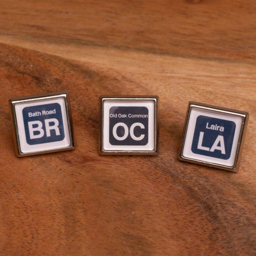 OC/LA/BR Shed Sticker Lapel Pins