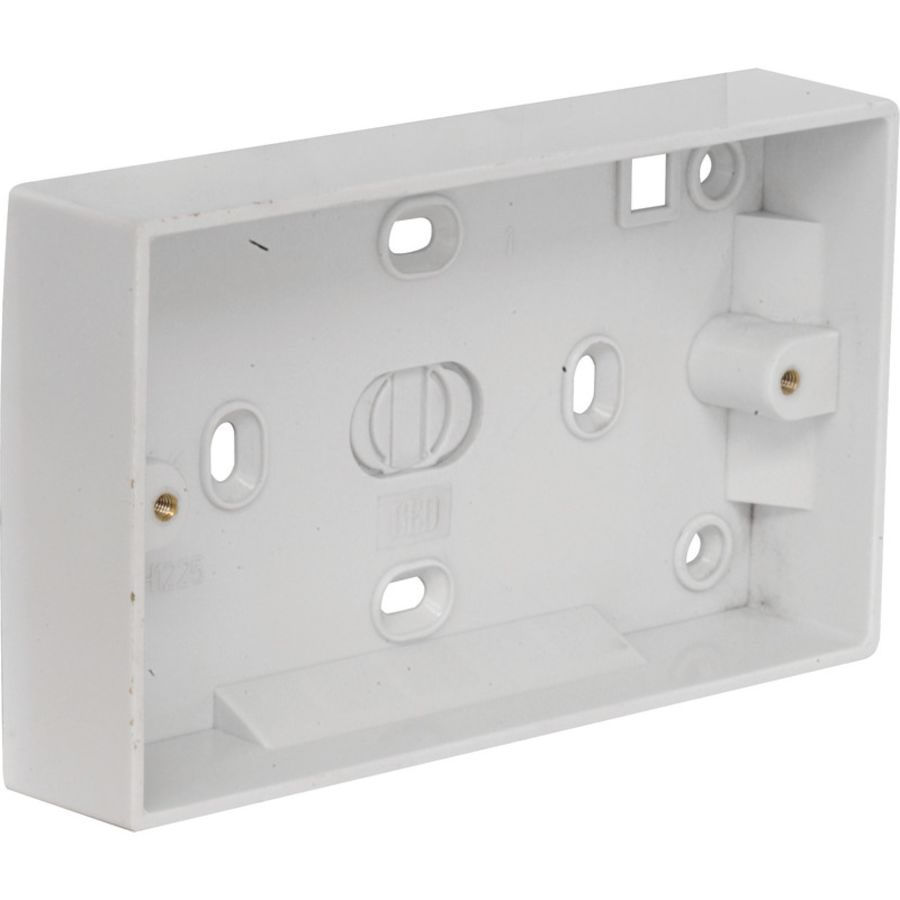 2 Gang White Plastic Moulded box 28mm