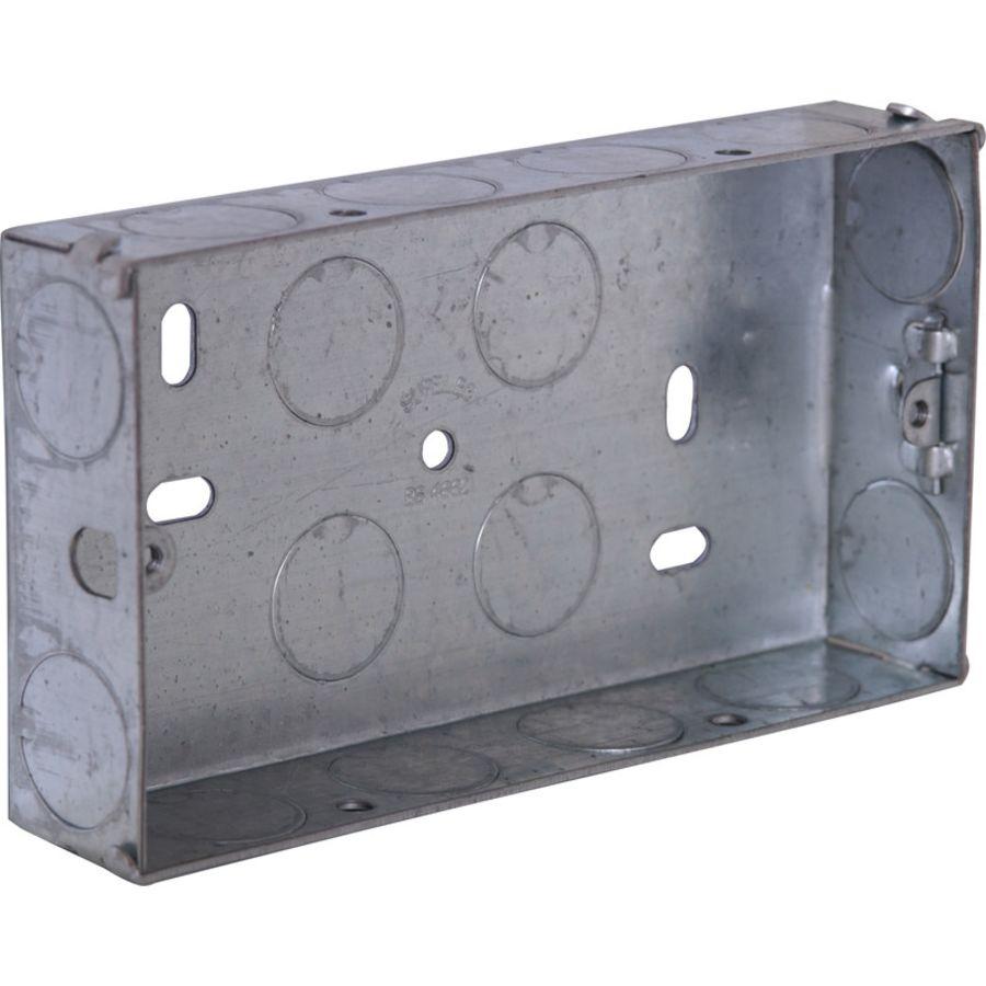 2 Gang Metal flush Moulded box 25mm