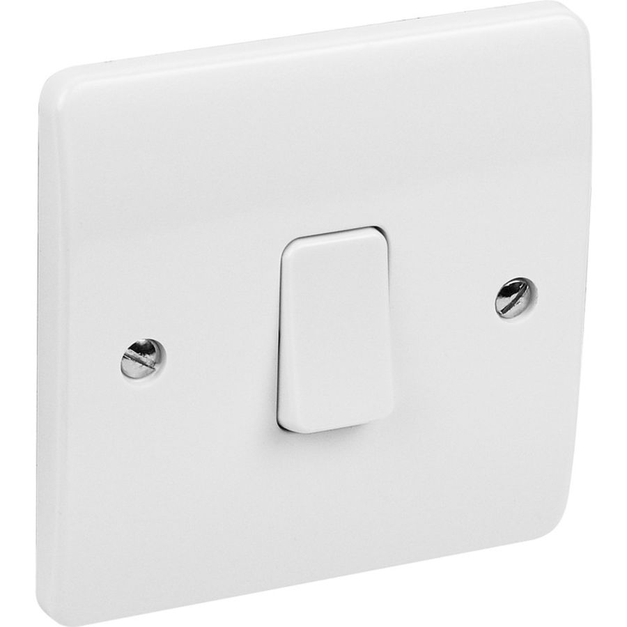 1 Gang White Plastic Switch 2way