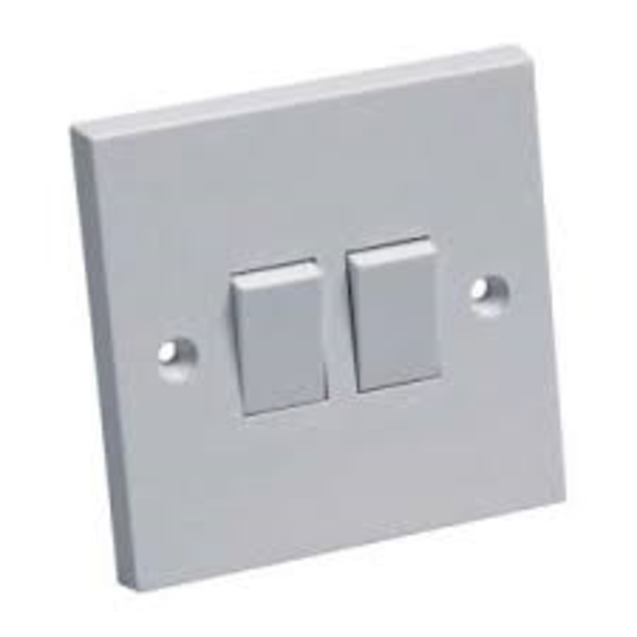 2 Gang White Plastic Switch 2way