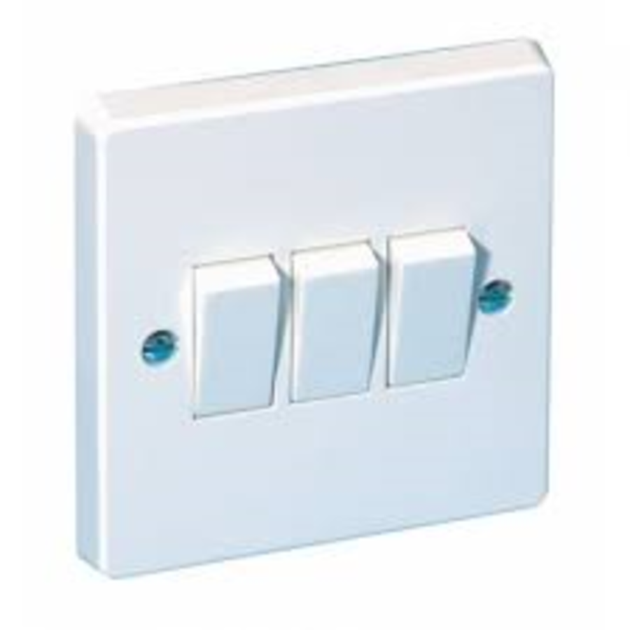 3 Gang White Plastic Switch 2way