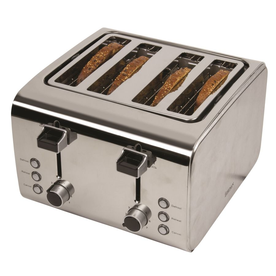 Igenix Brushed and Polished Stainless Steel 4 Slice Toaster IG3204