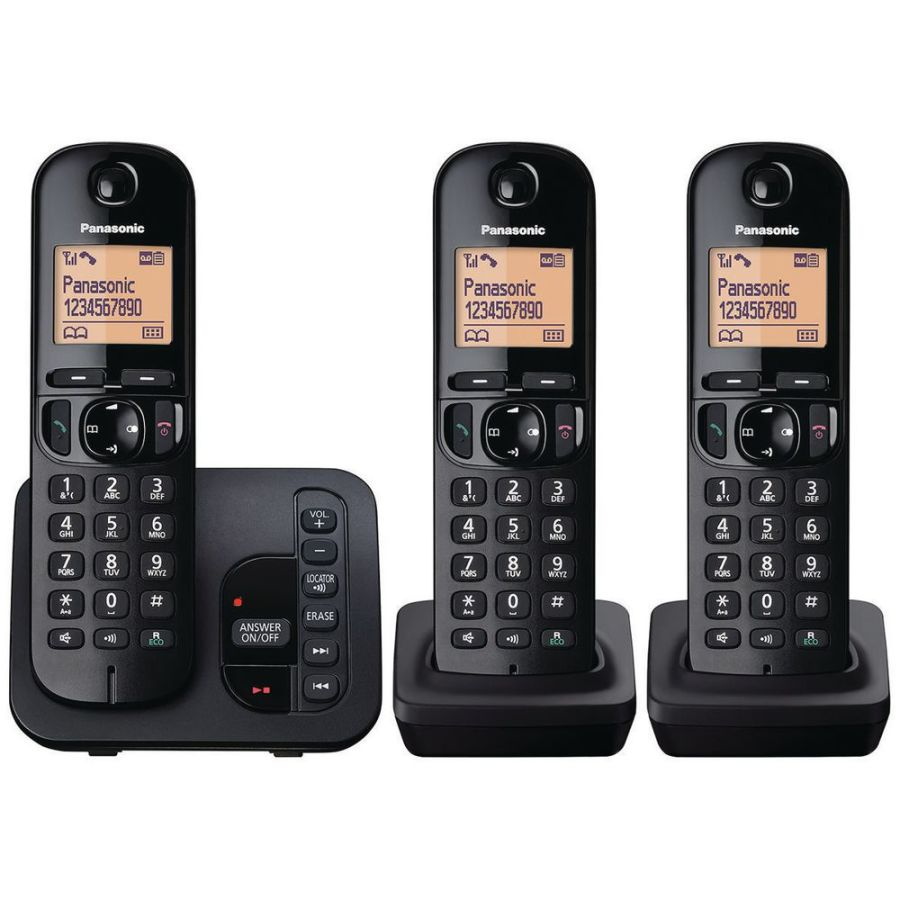 Panasonic Triple Telephone with Answer Machine KX-TGC223
