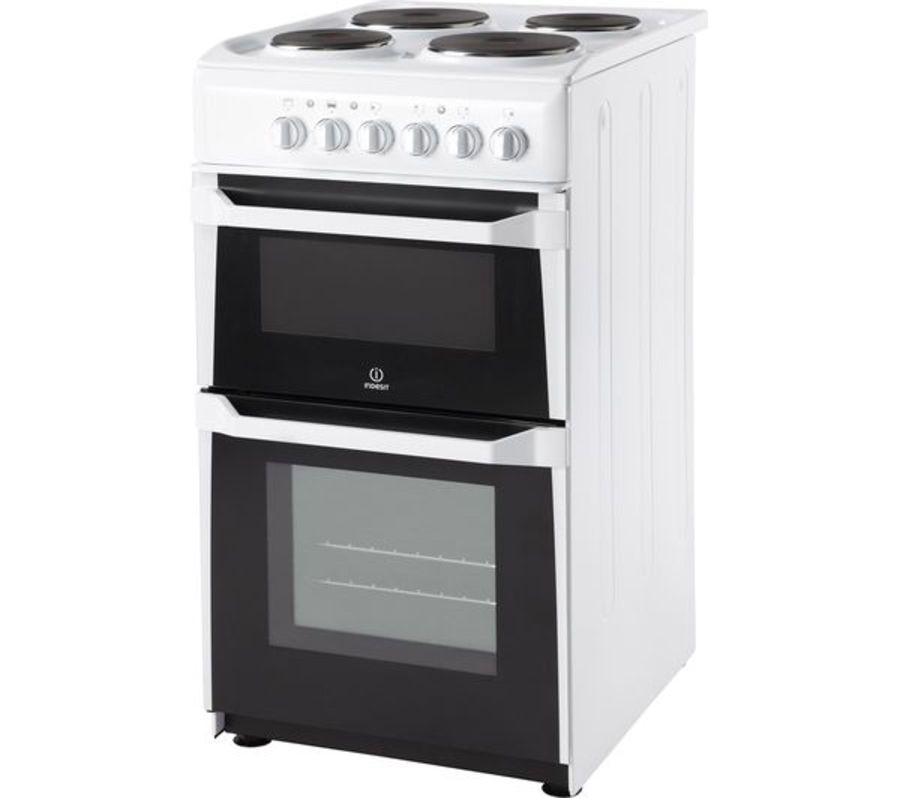 Indesit Twin Cavity Electric Cooker with Sealed Plate Hob IT50EWS