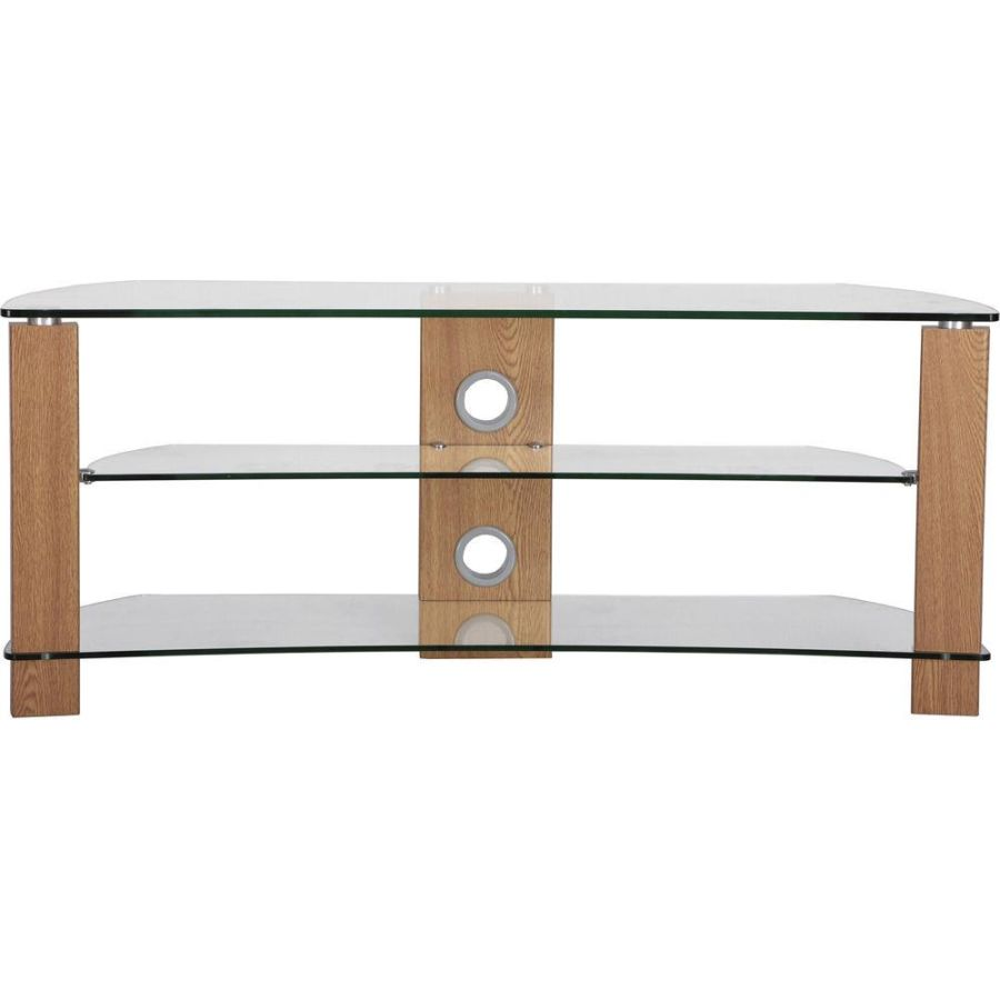 Clear Glass and Oak 3 Shelf TV Stand AVS-L630