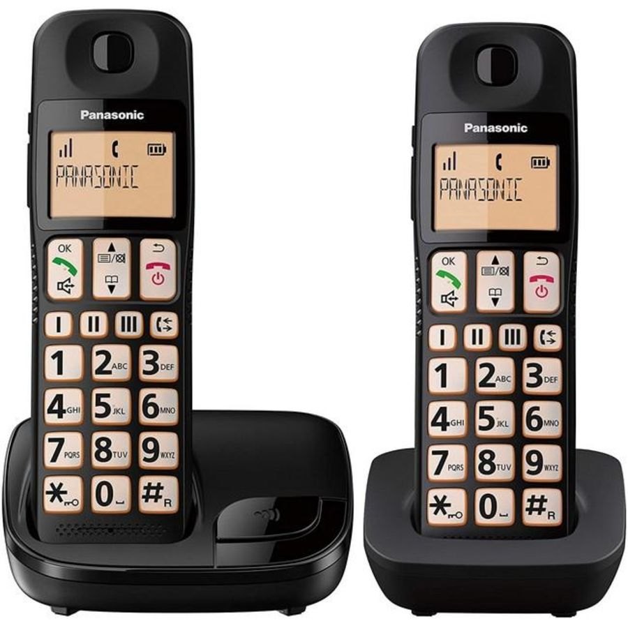 Panasonic Twin Cordless Big Button Telephone KX-TGE112