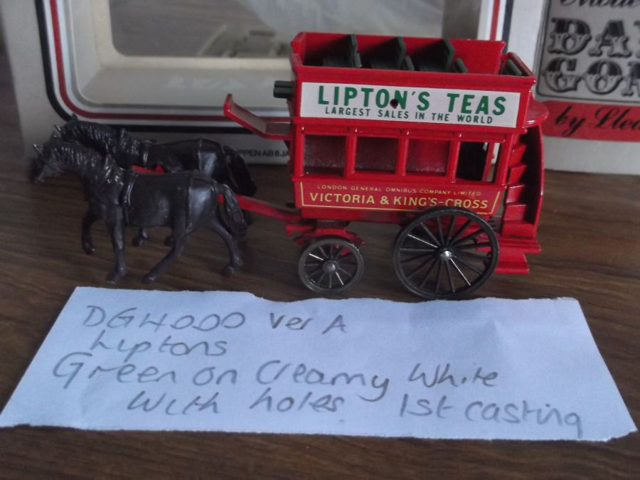 DG04000a, Horse Drawn Omnibus, Victoria & Kings Cross, Liptons Tea, 1st Casting