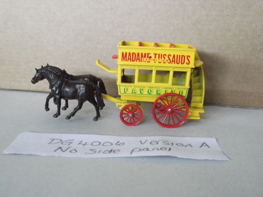 DG04006 Variation, Horse Drawn Omnibus, Madame Tussaud's Exhibition, Black Wheels