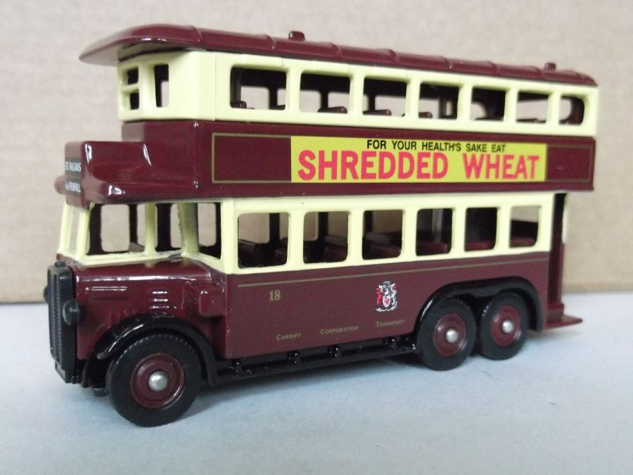 DG49025, AEC Renown D/D Bus, Cardiff Corporation / Shredded Wheat