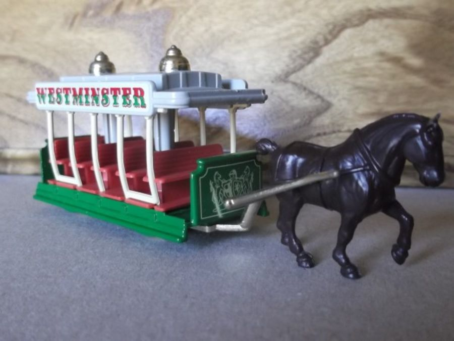 DG01000b, Horse Drawn Tram, Westminster, Cream Crest, Brown Horse