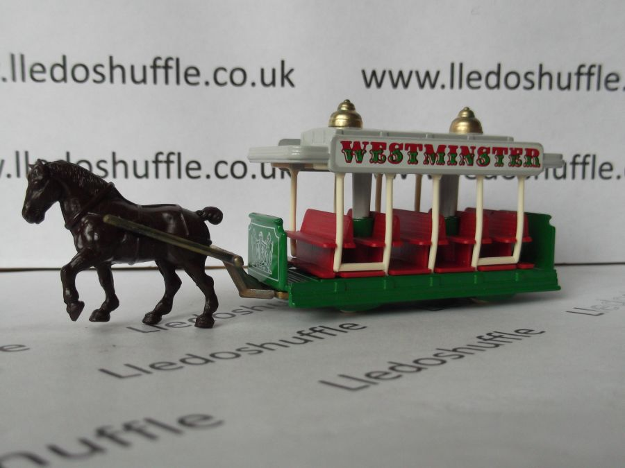 DG01000d, Horse Drawn Tram, Westminster, White Crest, Red Seats