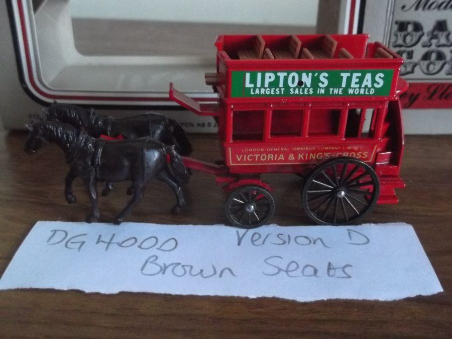 DG04000d, Horse Drawn Omnibus, Victoria & Kings Cross, Liptons Tea, Brown Seats