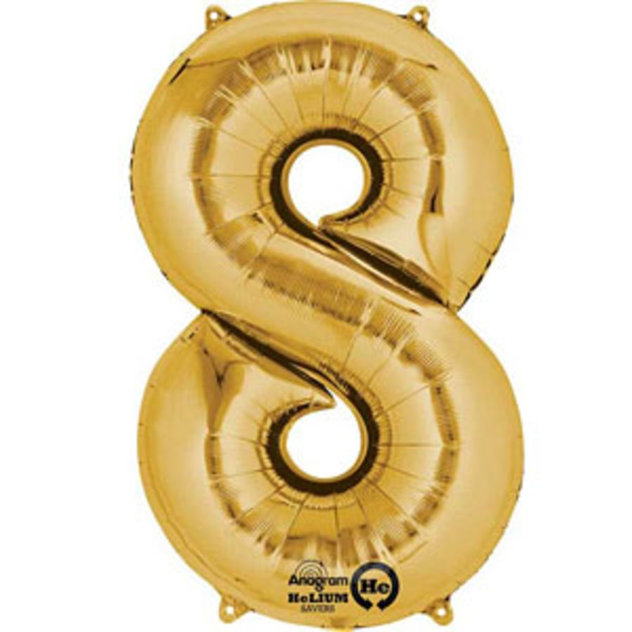 Jumbo Foil Balloon Number 8 - Gold
