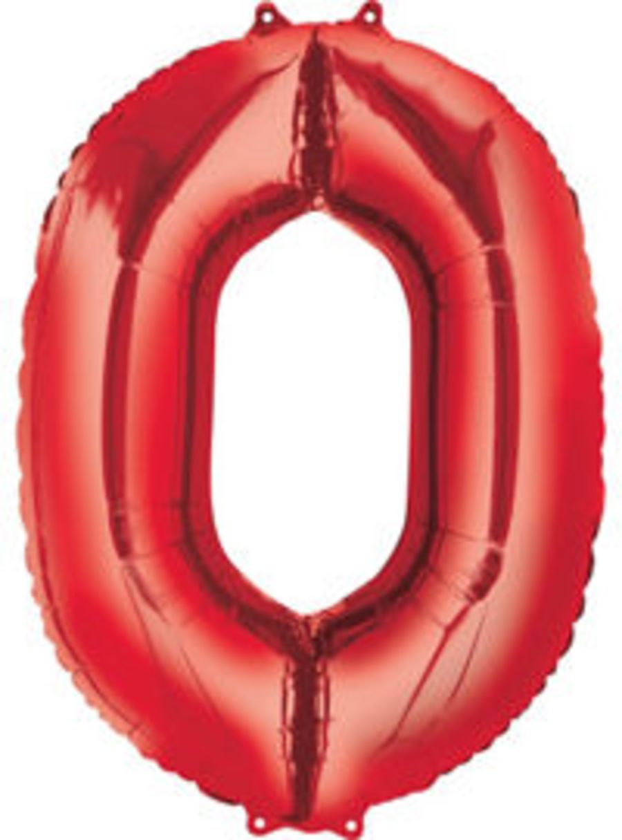 Jumbo Foil Balloon Number 0 - Red