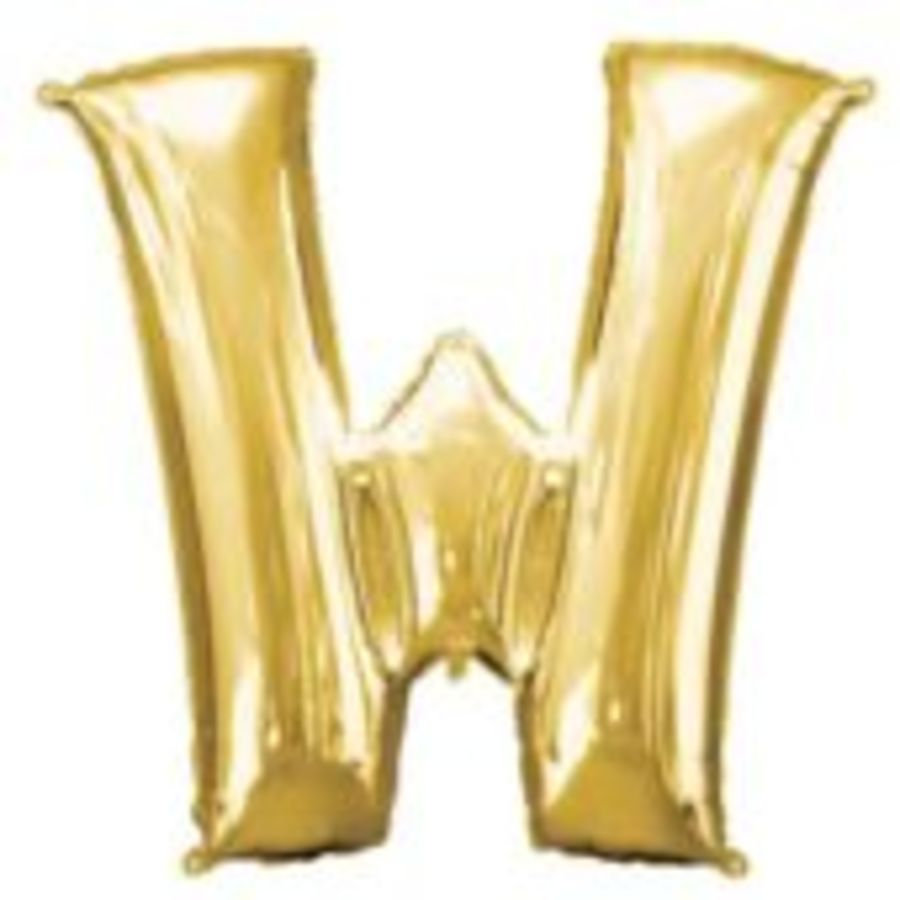 16 Inch Foil Balloon Letter W - Gold