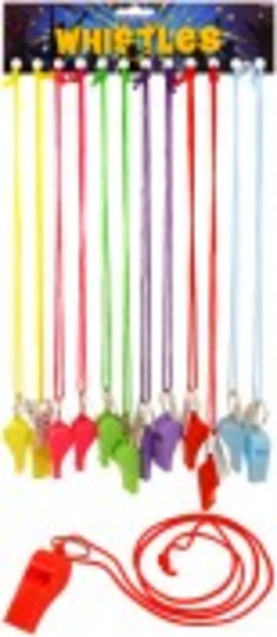 Plastic Whistle on Cord - Assorted colours