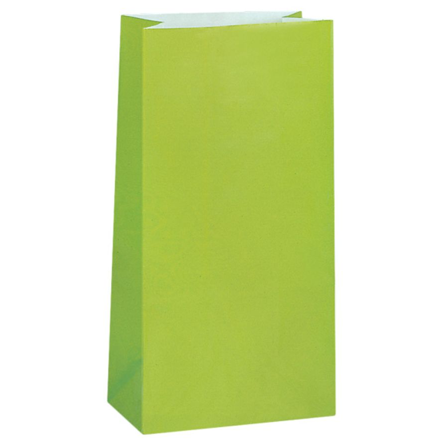 Lime Green Paper Party Bag - Pack of 12