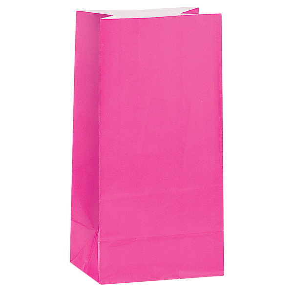 Hot Pink Paper Party Bag - Pack of 12