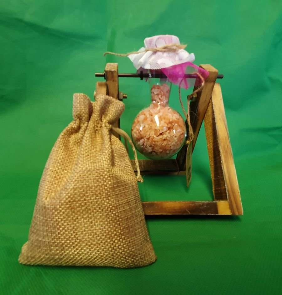 Hydroponic Home Décor - One Pot Wooden Stand. With approx 200g Himalayan bath salts