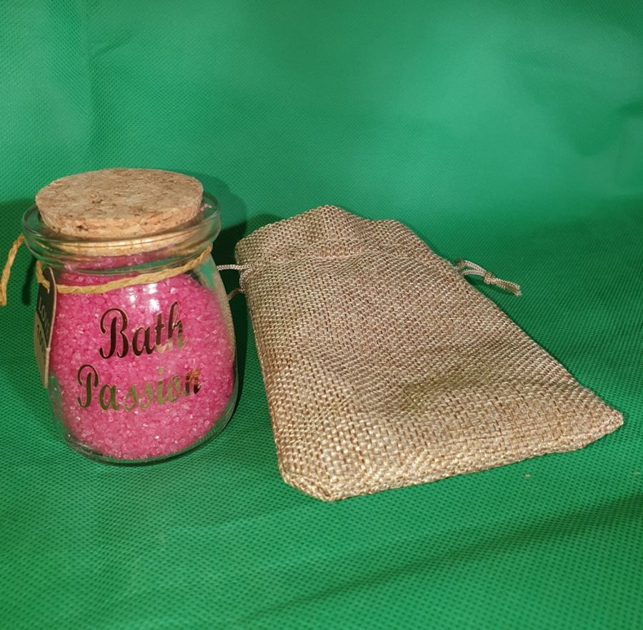Aromatherapy bath passion potion in a small corked glass jar - personalised