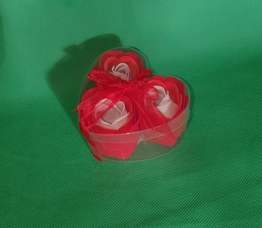 Set of 3 Red Rose Soap Flowers