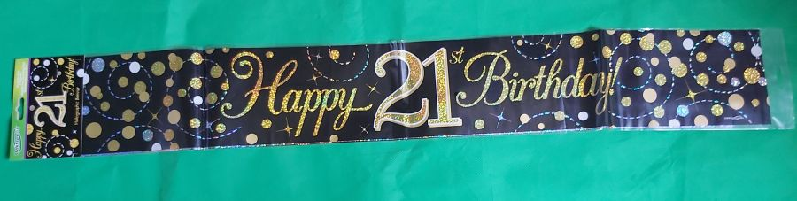 Black Sparkling Fizz Happy 21st Birthday Holographic Banner