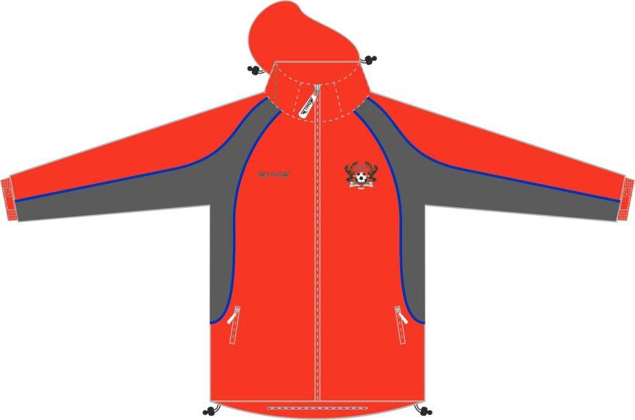 D4J. Halas Hawks Red Rain Jacket (Fleece Lined) - Adult