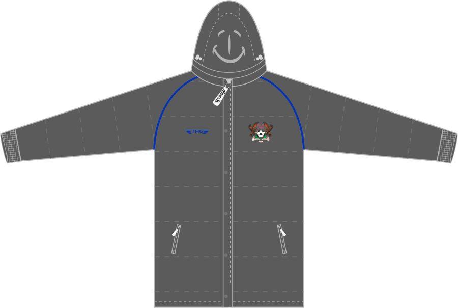 D5D. Halas Hawks Charcoal Hip Length Puffa Jacket - Adult