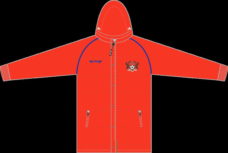 D5F. Halas Hawks Red Hip Length Puffa Jacket - Adult