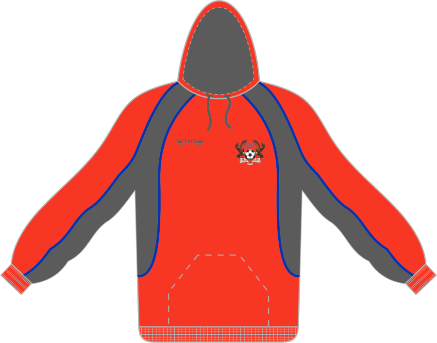 D7F. Halas Hawks Red Sports Hoody - Adult