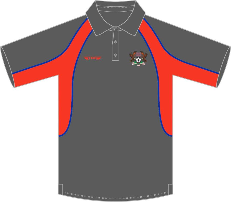 D8C. Halas Hawks Charcoal Sports Polo - Child