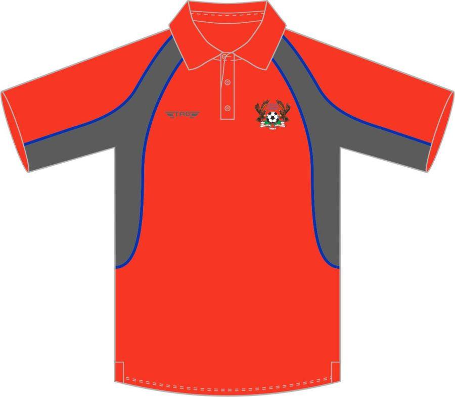 D8D. Halas Hawks Red Sports Polo - Adult