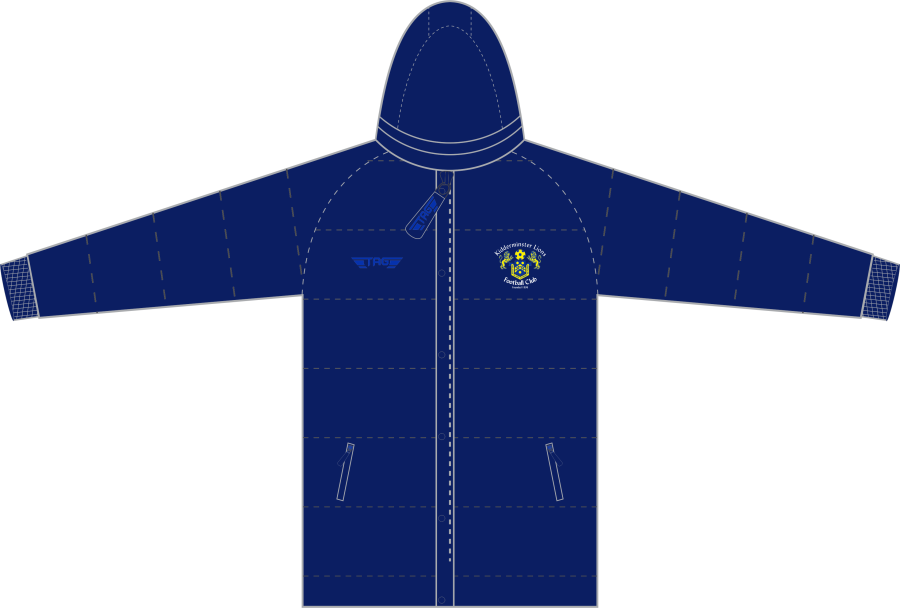 D5D. Kidderminster Lions Hip Length Puffa Jacket - Adult