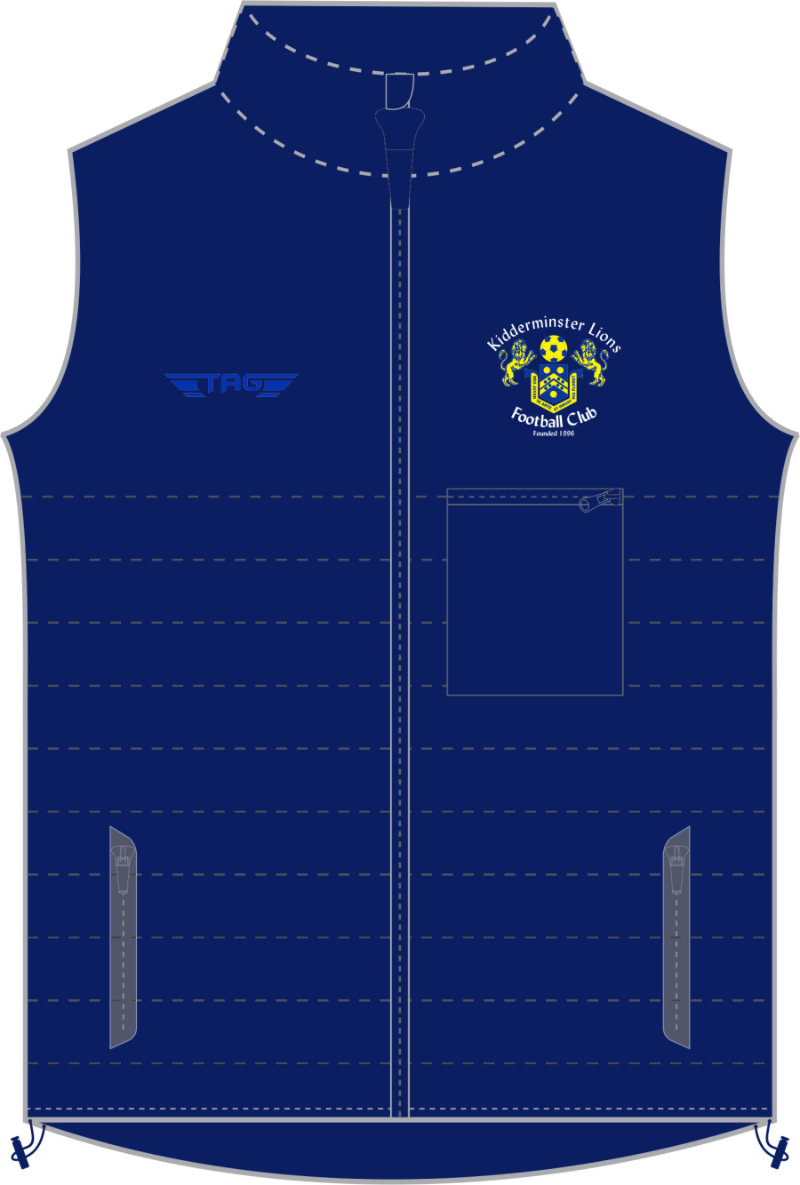 D5P. Kidderminster Lions Deluxe Puffa Gilet - Adult