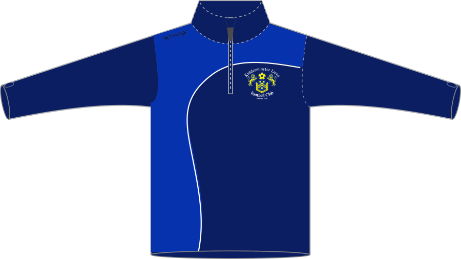 D6H. Kidderminster Lions 1/4 Zip Tech Midlayer Top Fitted - Adult**