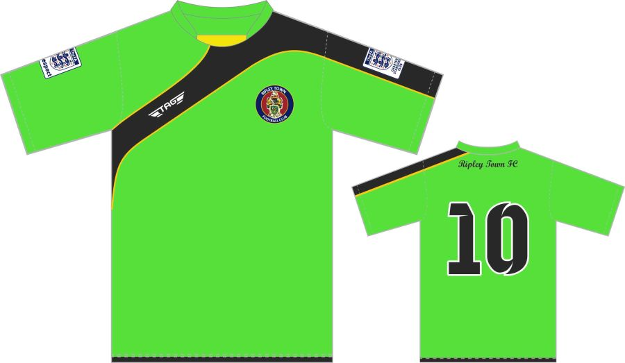 C3D. Ripley Town Bright Green/Black Away Match Jersey S/S - Adult