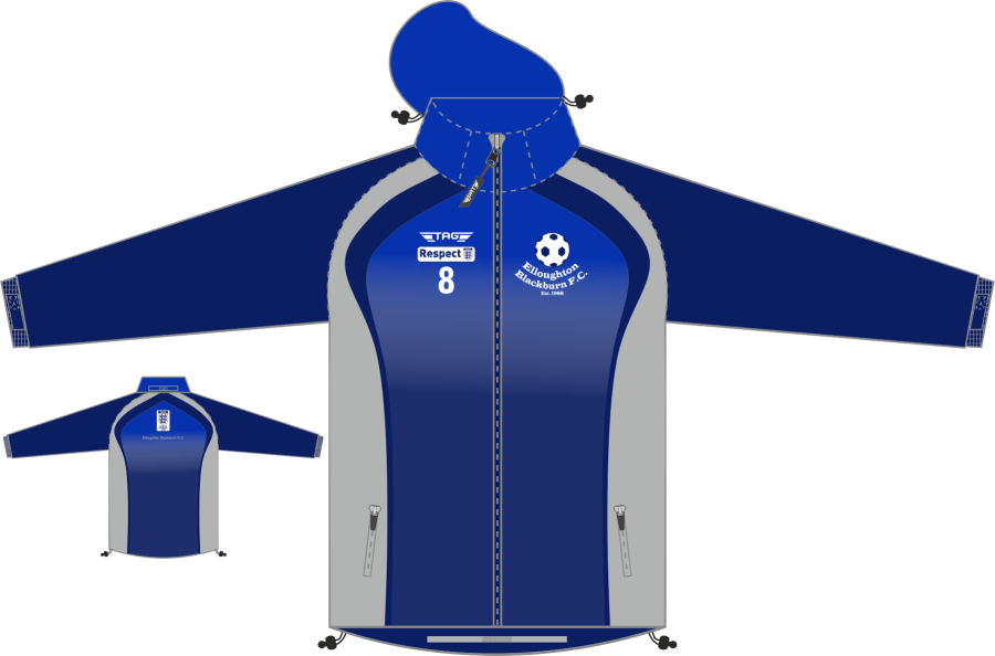 D4E. Elloughton Blackburn FC - Hybrid Fleece Line Rain Jacket - Child