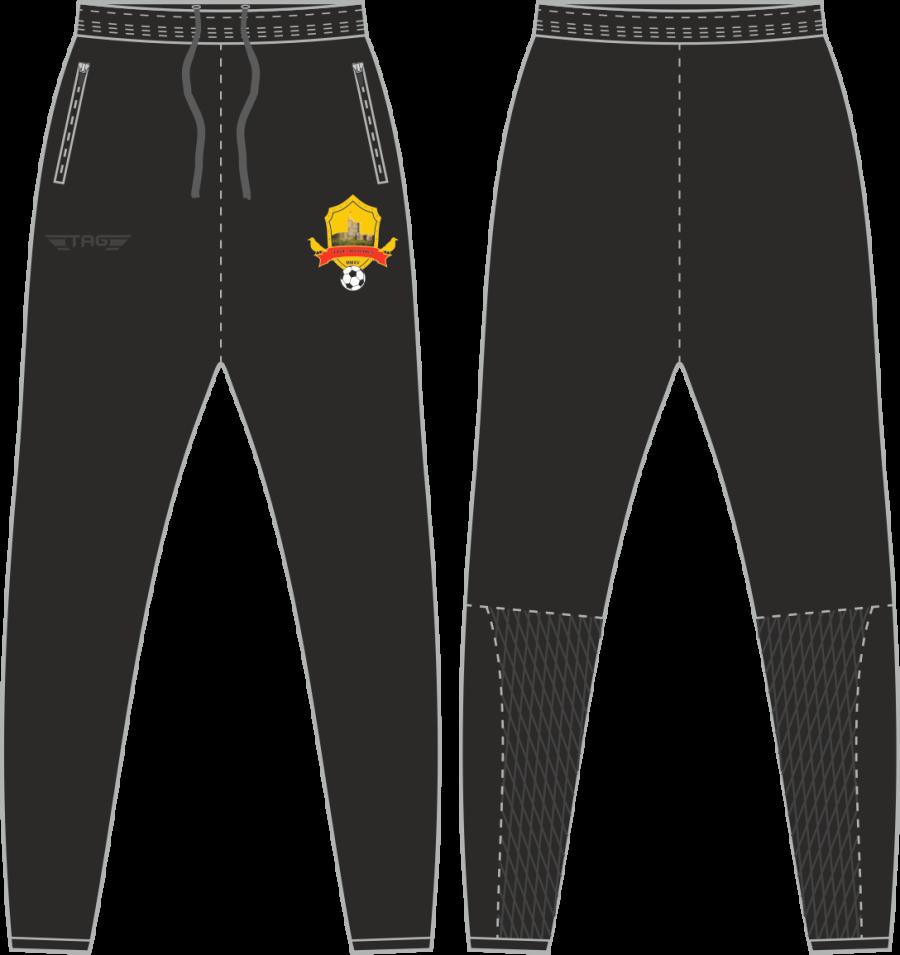 D2H. Bolsover Town FC - Black Tech Trouser - Adult