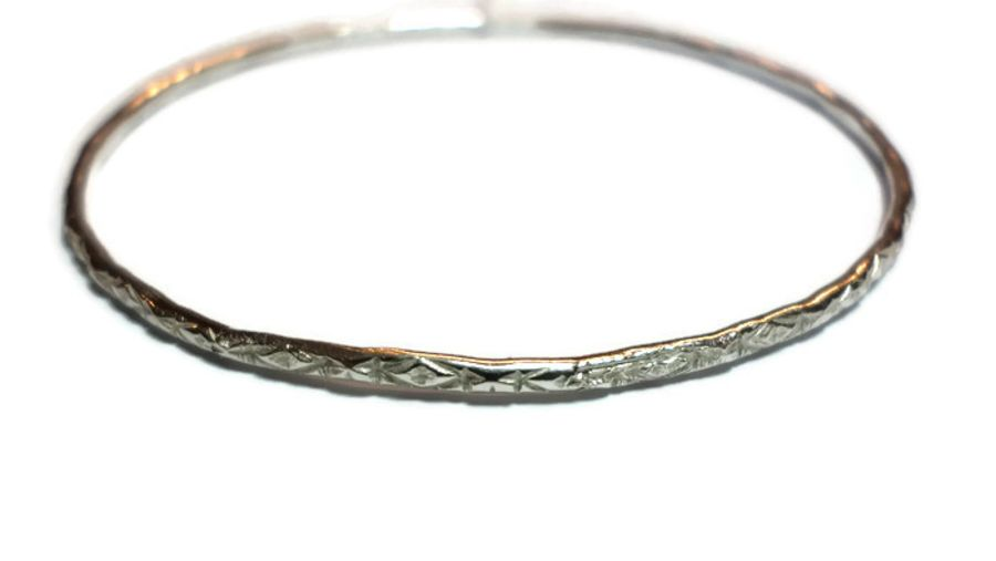 Patterned Sterling Silver Bangle 2.75 inches